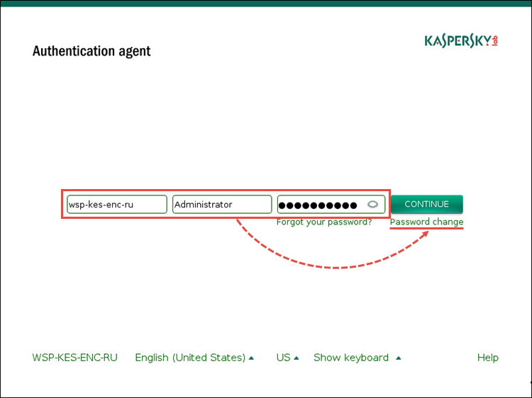 Картинка: Смена пароля в Агенте аутентификации Kaspersky Endpoint Security 10 для Windows.