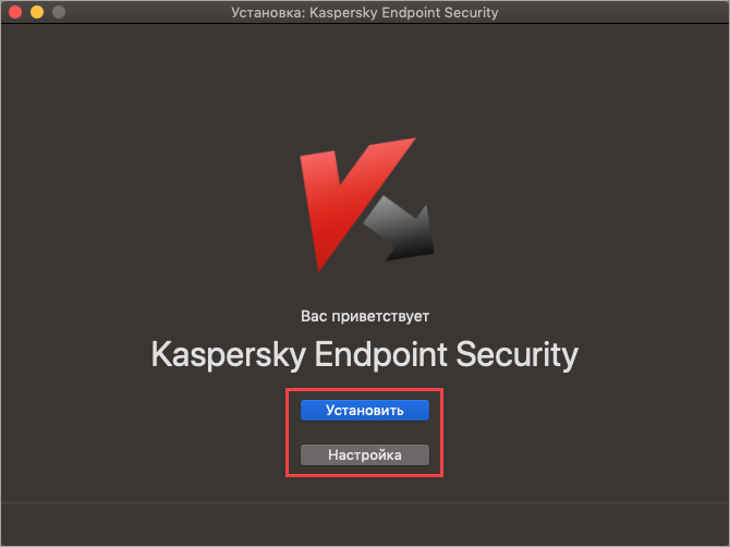 Выбор типа установки Kaspersky Endpoint Security 11 для Mac